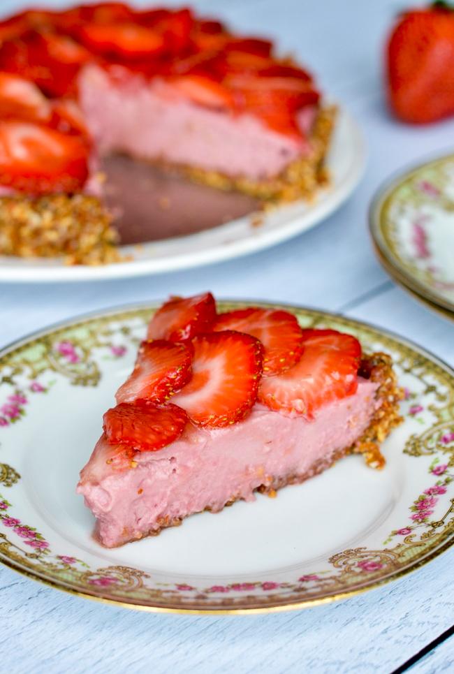Vegan Strawberry Tart on plate