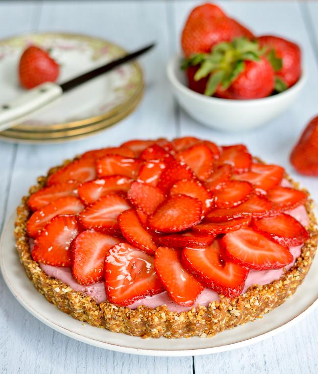 Vegan Strawberry Tart on counter