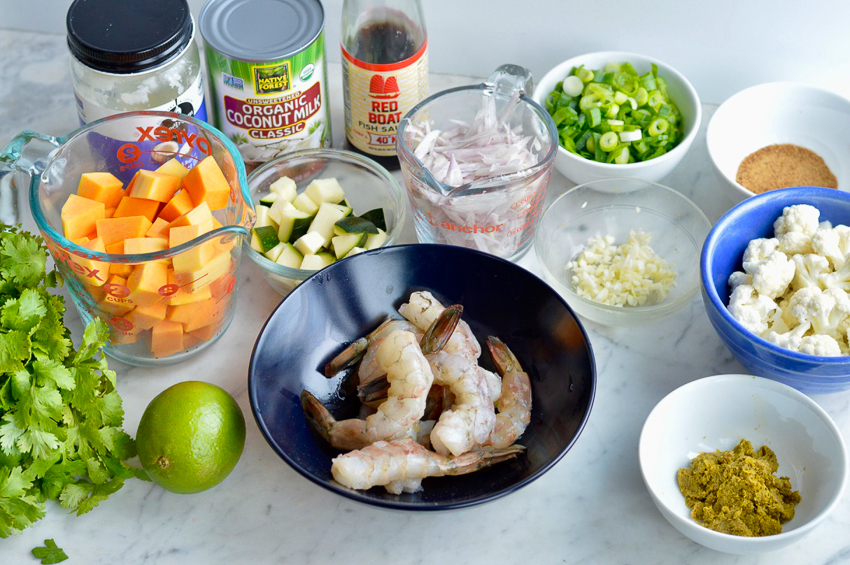 Thai Shrimp and Vegetable Curry ingredients