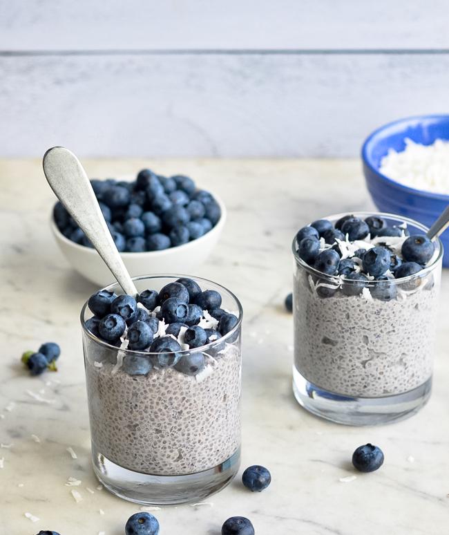 Blueberry Chia Pudding 2 bowls close