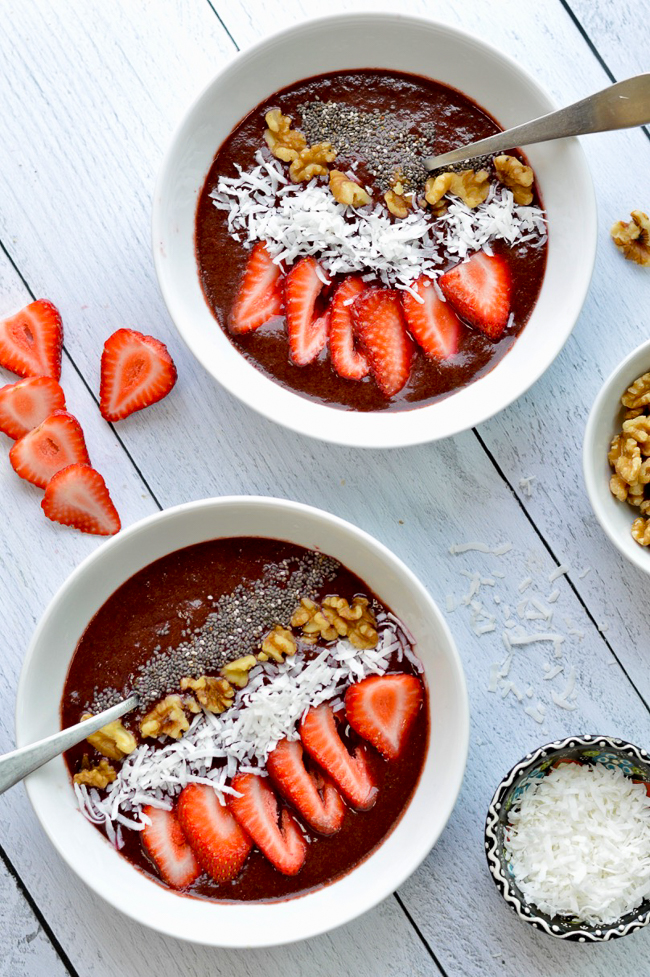 cherry green smoothie bowl over shot