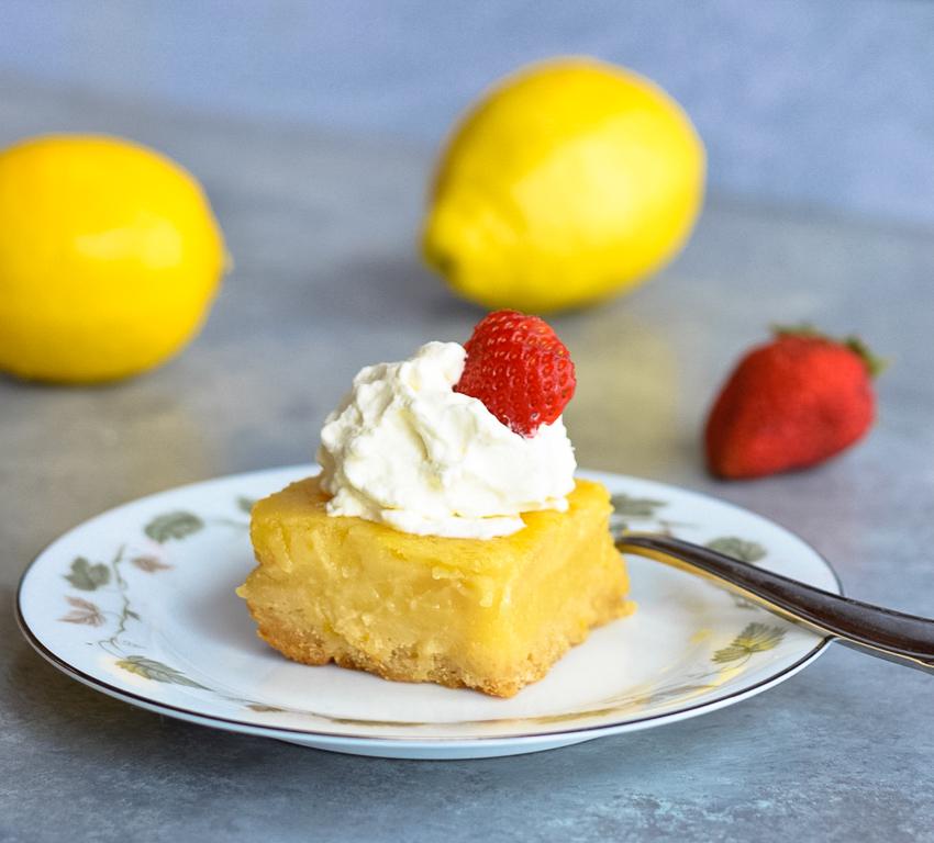 Fresh Lemon Bars on plate