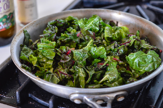 Skillet Greens with Molten Eggs Chard cooking