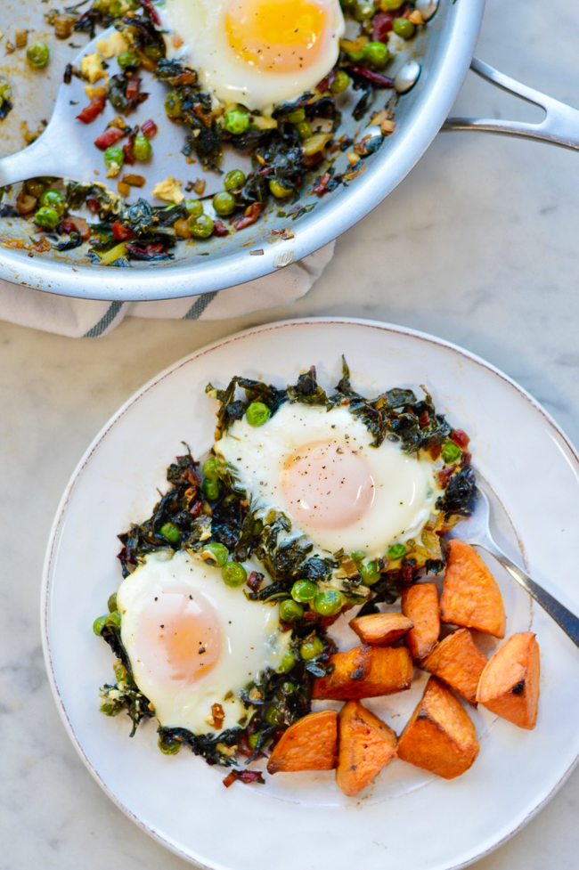 Skillet Greens with Molten Eggs plate and pan