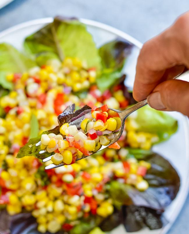 Fresh Corn Salad fork