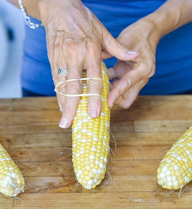 Fresh Corn removing silk