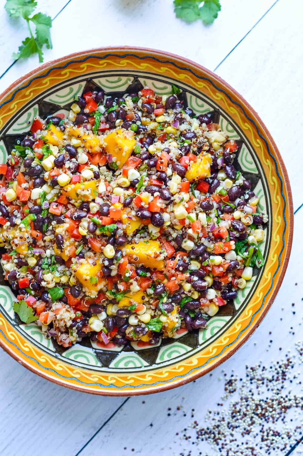 Southwestern Black Bean Salad with Quinoa & Mango overhead