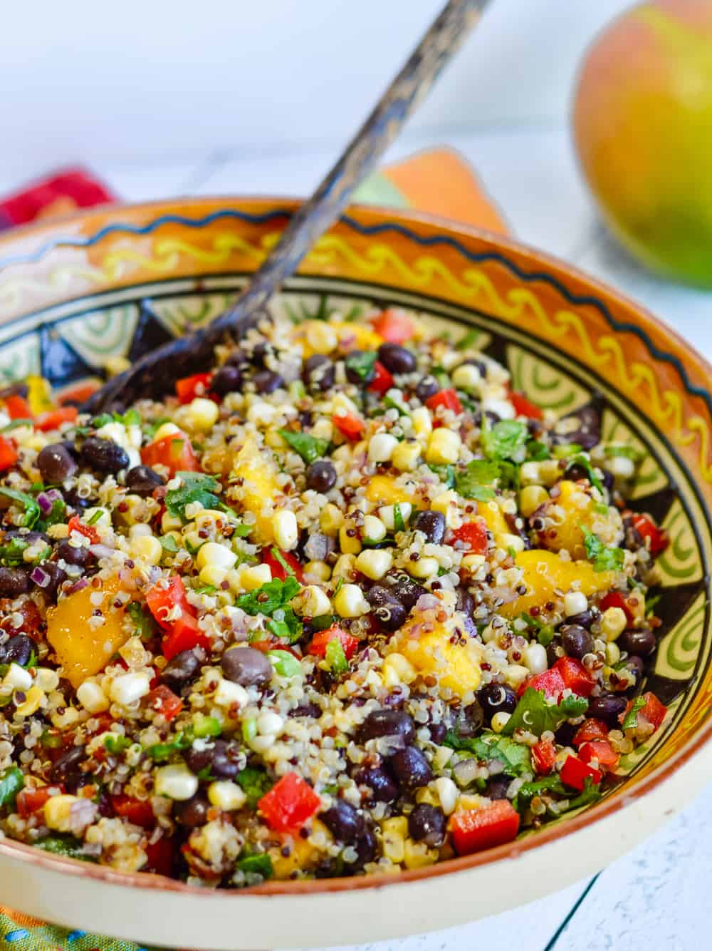 Southwestern Black Bean Salad with Quinoa & Mango side view