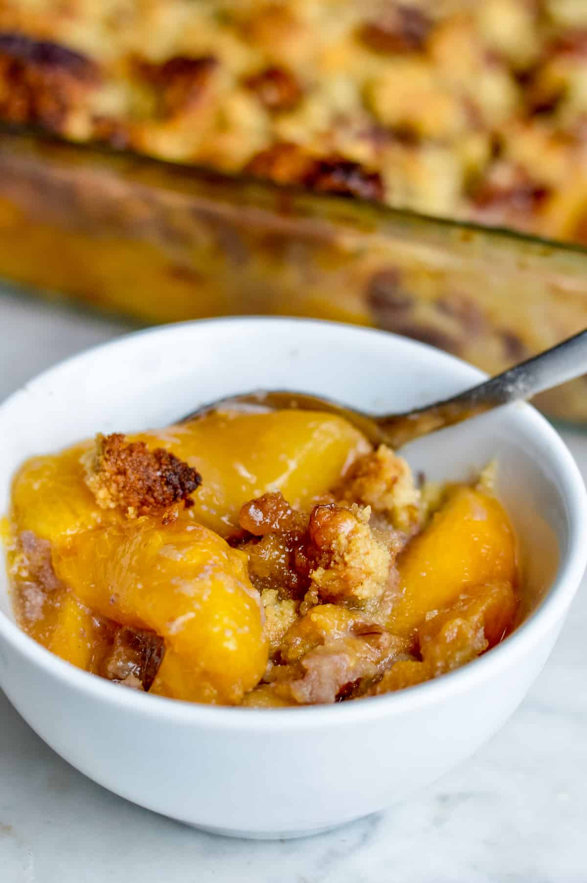 Amazing Peach Cobbler in bowl