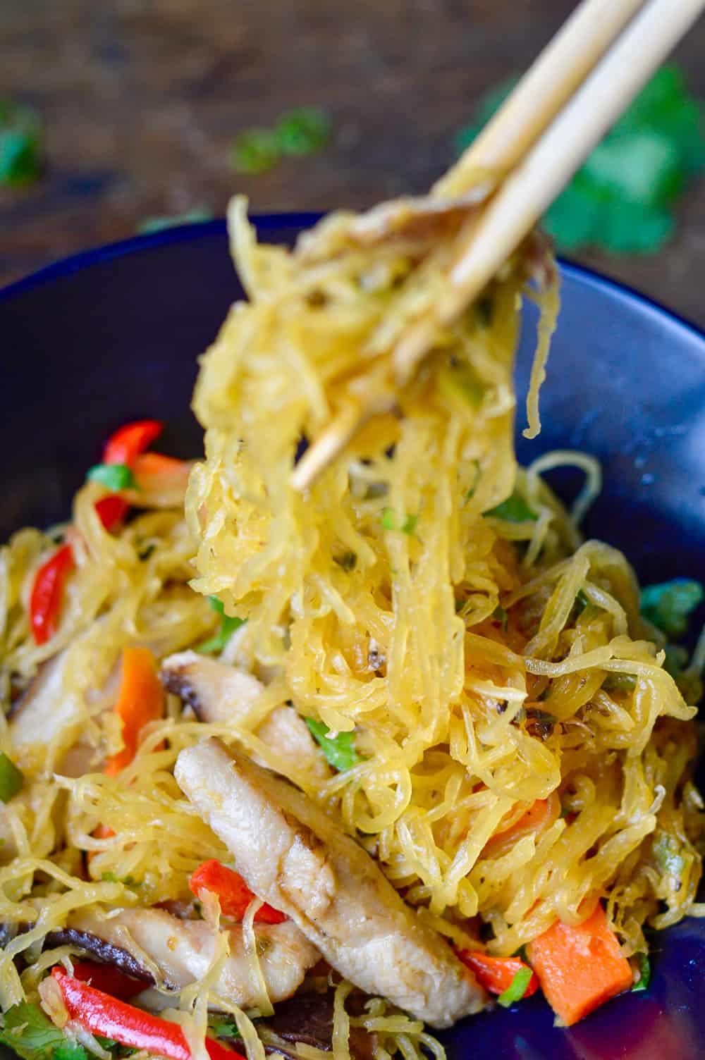 Asian Spaghetti Squash Noodle Stir Fry chopsticks