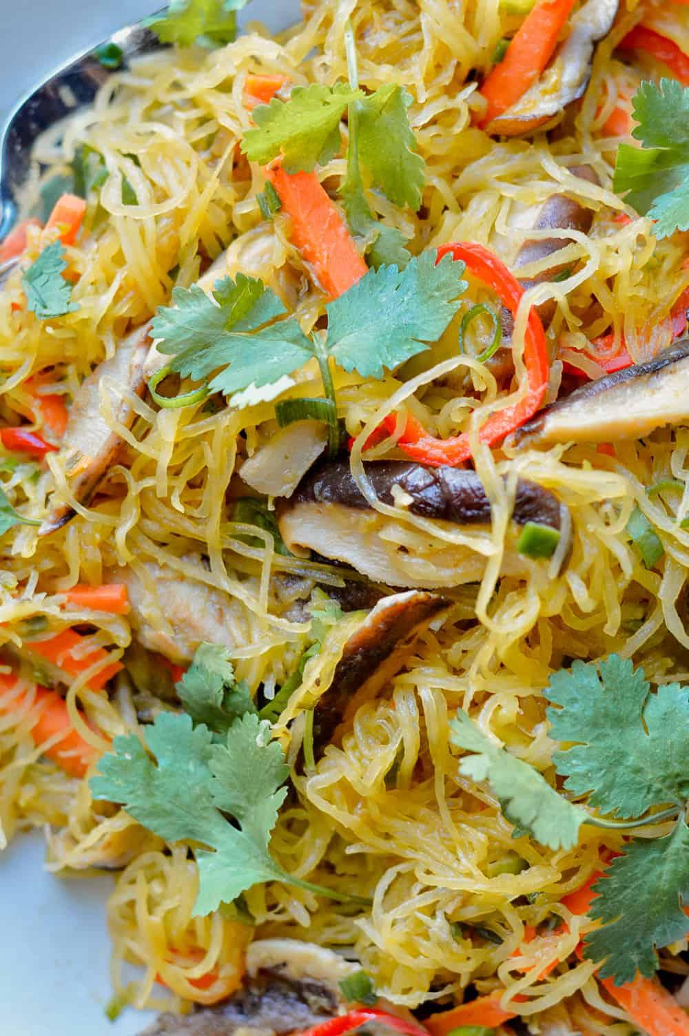 Asian Spaghetti Squash Noodle Stir Fry close up