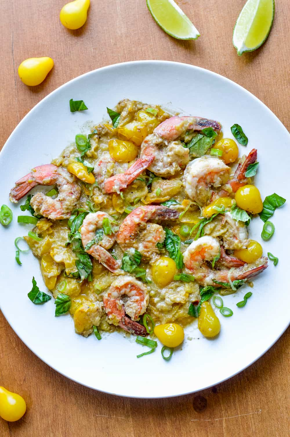 Fragrant Ginger Shrimp with Cherry Tomatoes over view