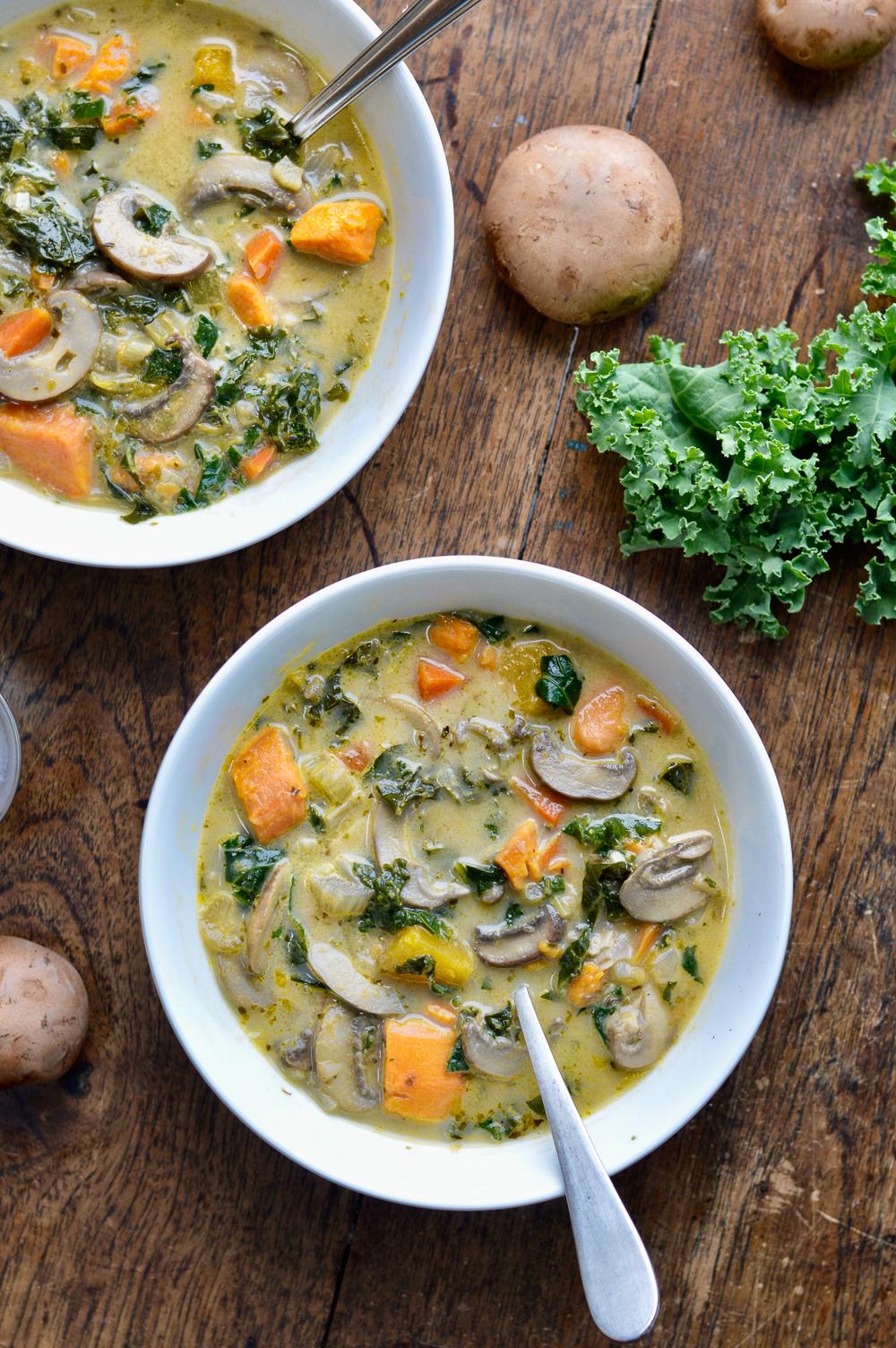 Cozy Mushroom Vegetable Soup 2 bowls