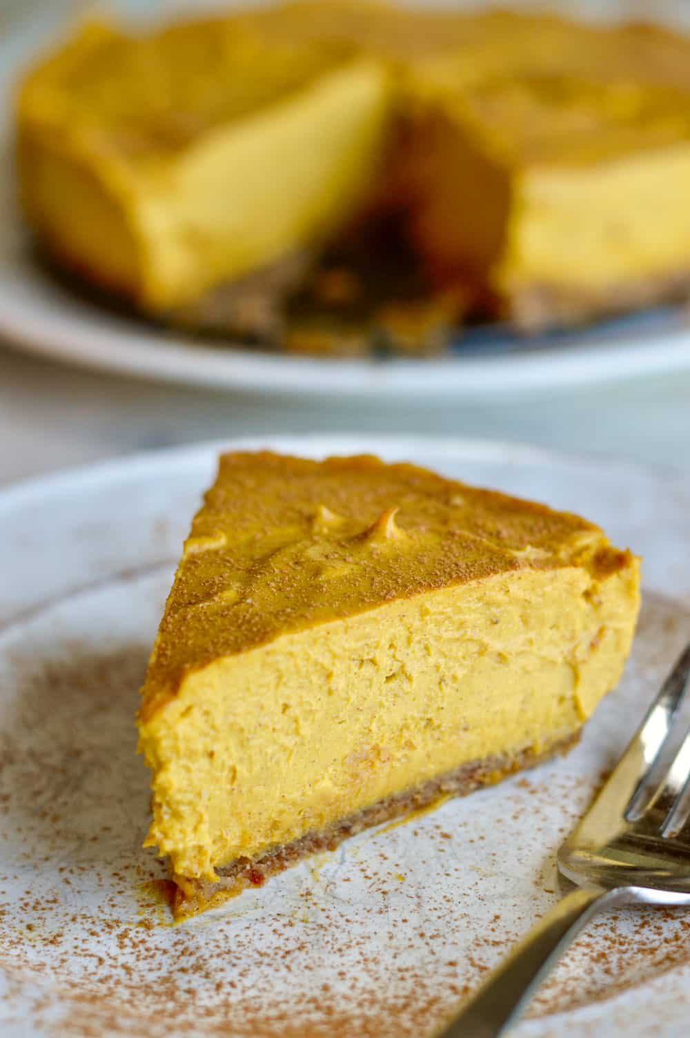 Creamy Paleo Pumpkin Cheesecake closeup