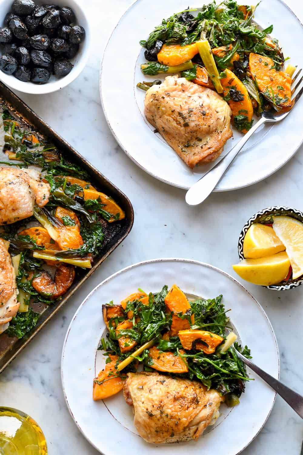 Sheet Pan Chicken with Butternut Squash and Kale 2 plates