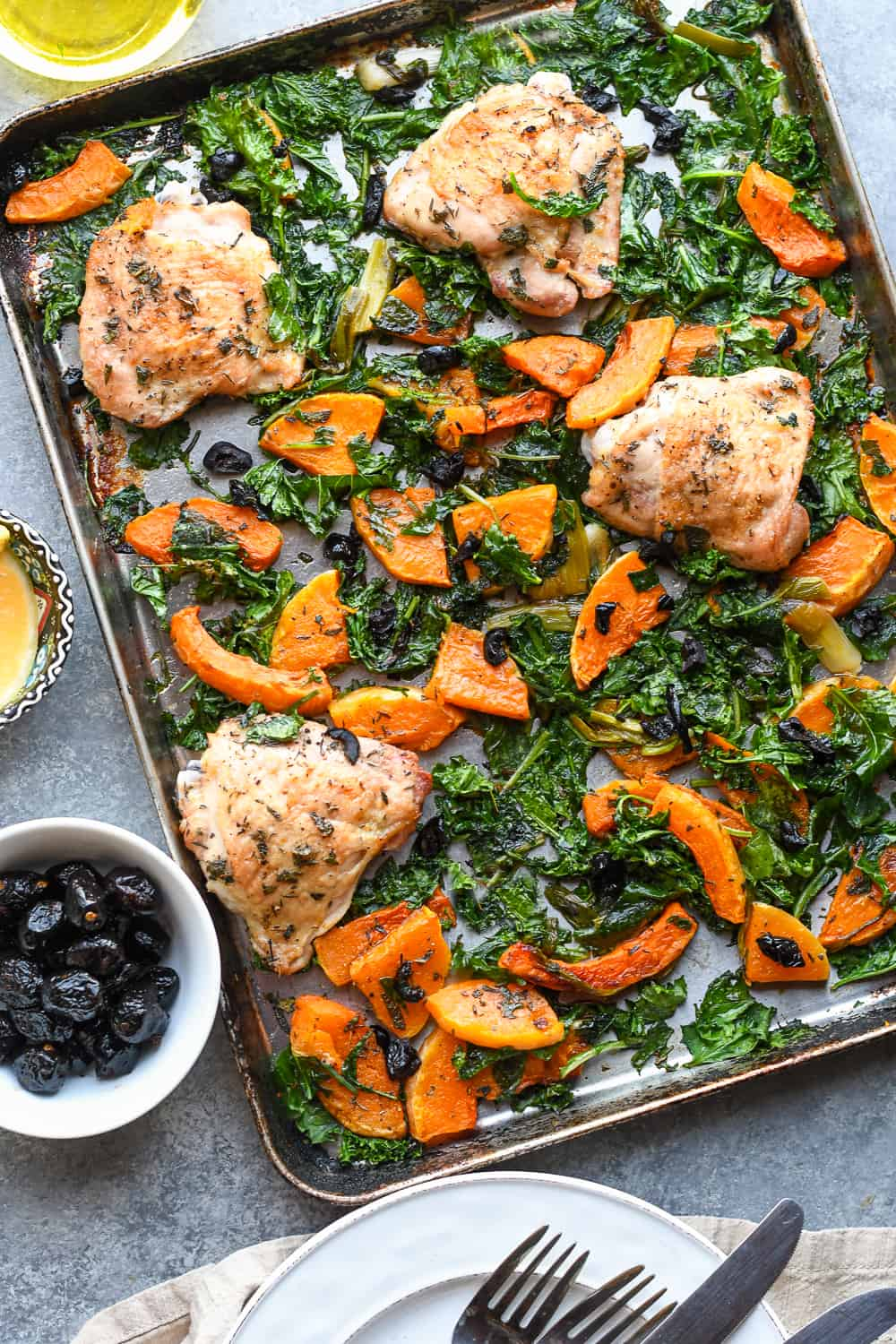 Sheet Pan Chicken with Butternut Squash and Kale cooked tray