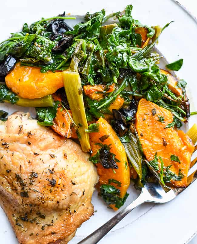 Sheet Pan Chicken with Butternut Squash and Kale close up