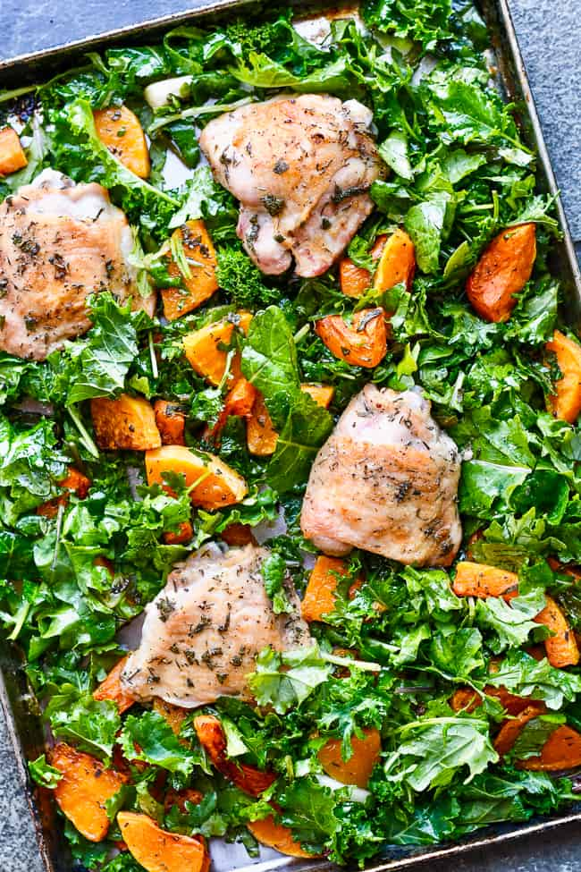Sheet Pan Chicken with Butternut Squash and Kale raw kale