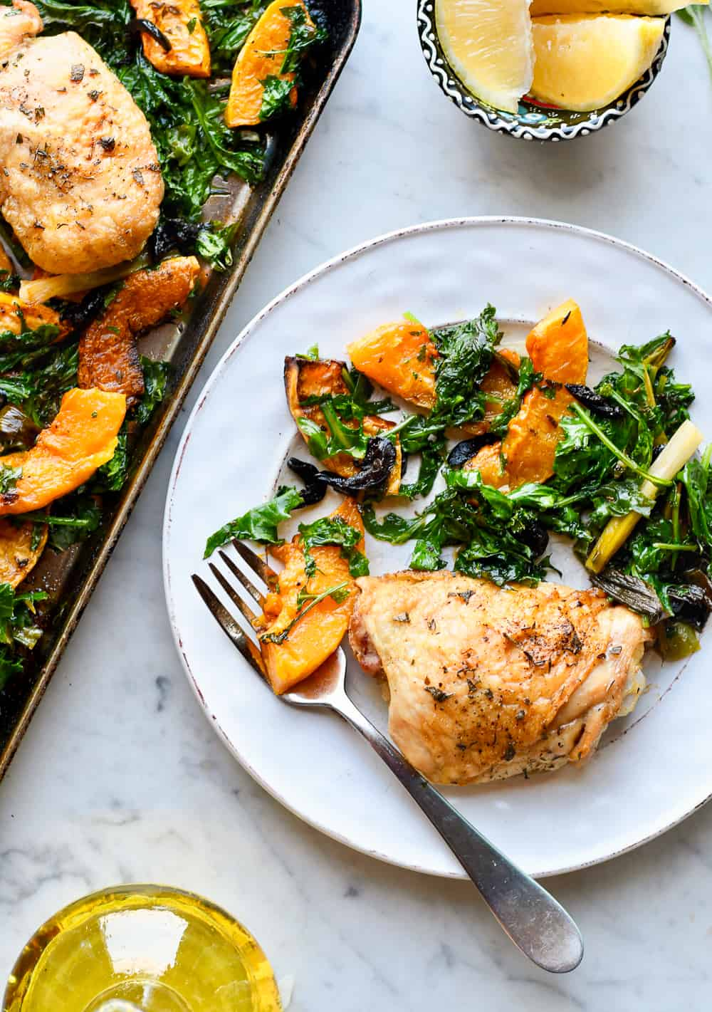 Sheet Pan Chicken with Butternut Squash and Kale one plate