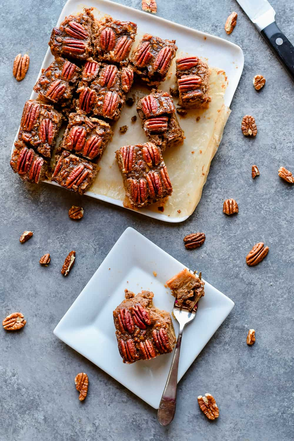 The Best Paleo Pecan Pie Bars with plate on side