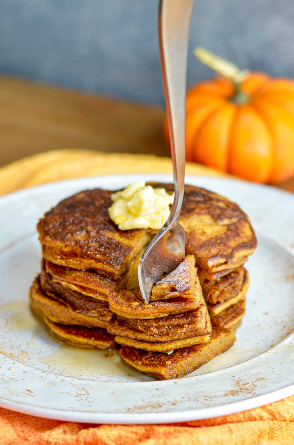 Paleo Pumpkin Pancakes with fork