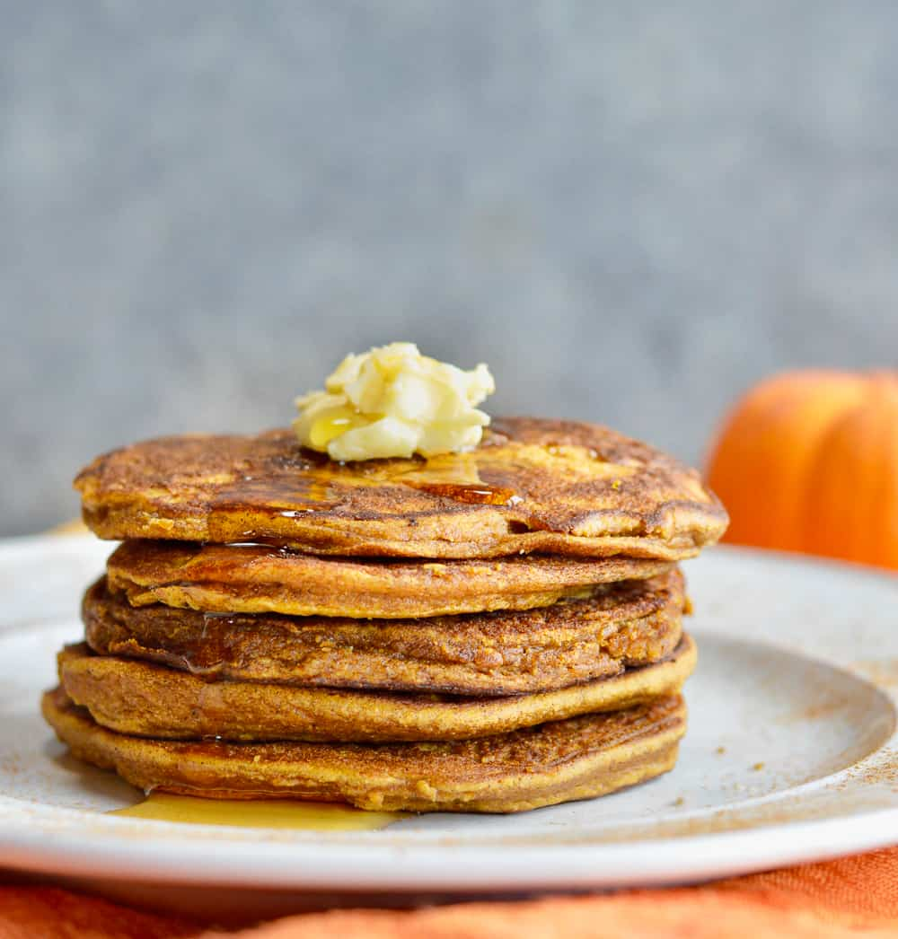 Fluffy Paleo Pumpkin Pancakes stacked