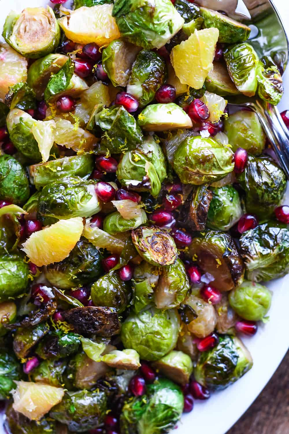 Roasted Brussels Sprouts with Pomegranates & Oranges close up