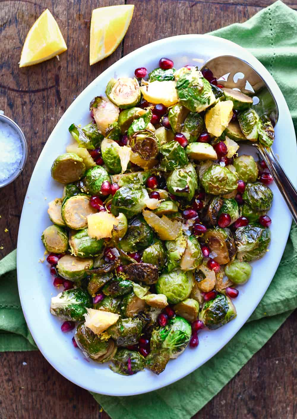 Roasted Brussels Sprouts with Pomegranates & Oranges platter