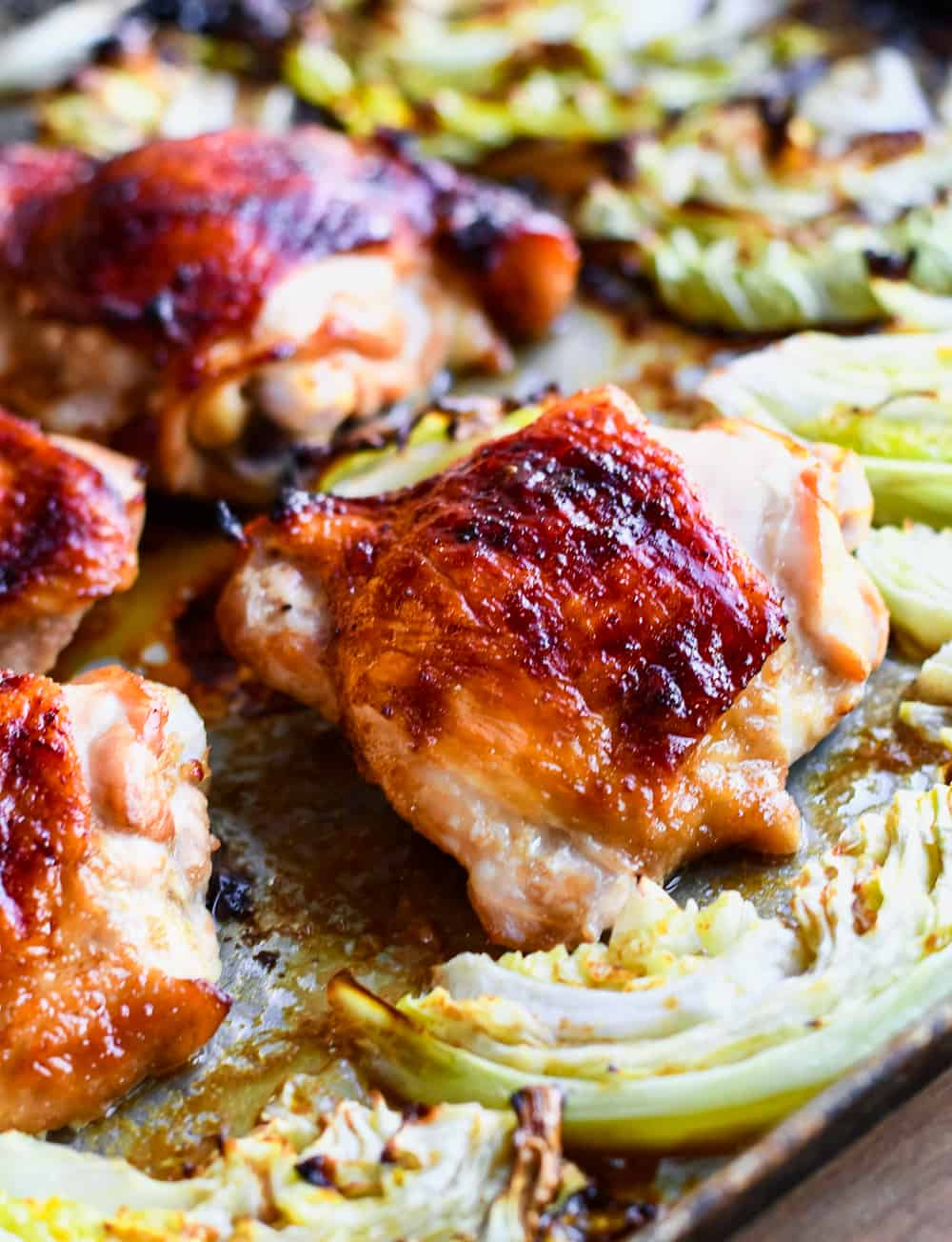 Asian Chicken with Crispy Cabbage close up