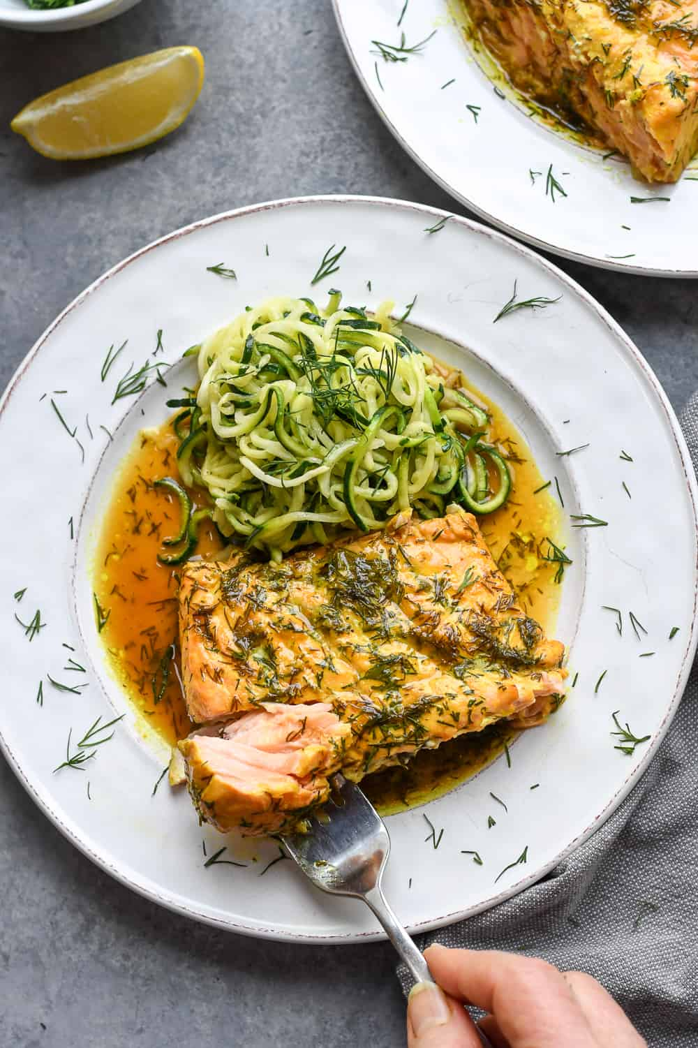 Roasted Dill Salmon with fork