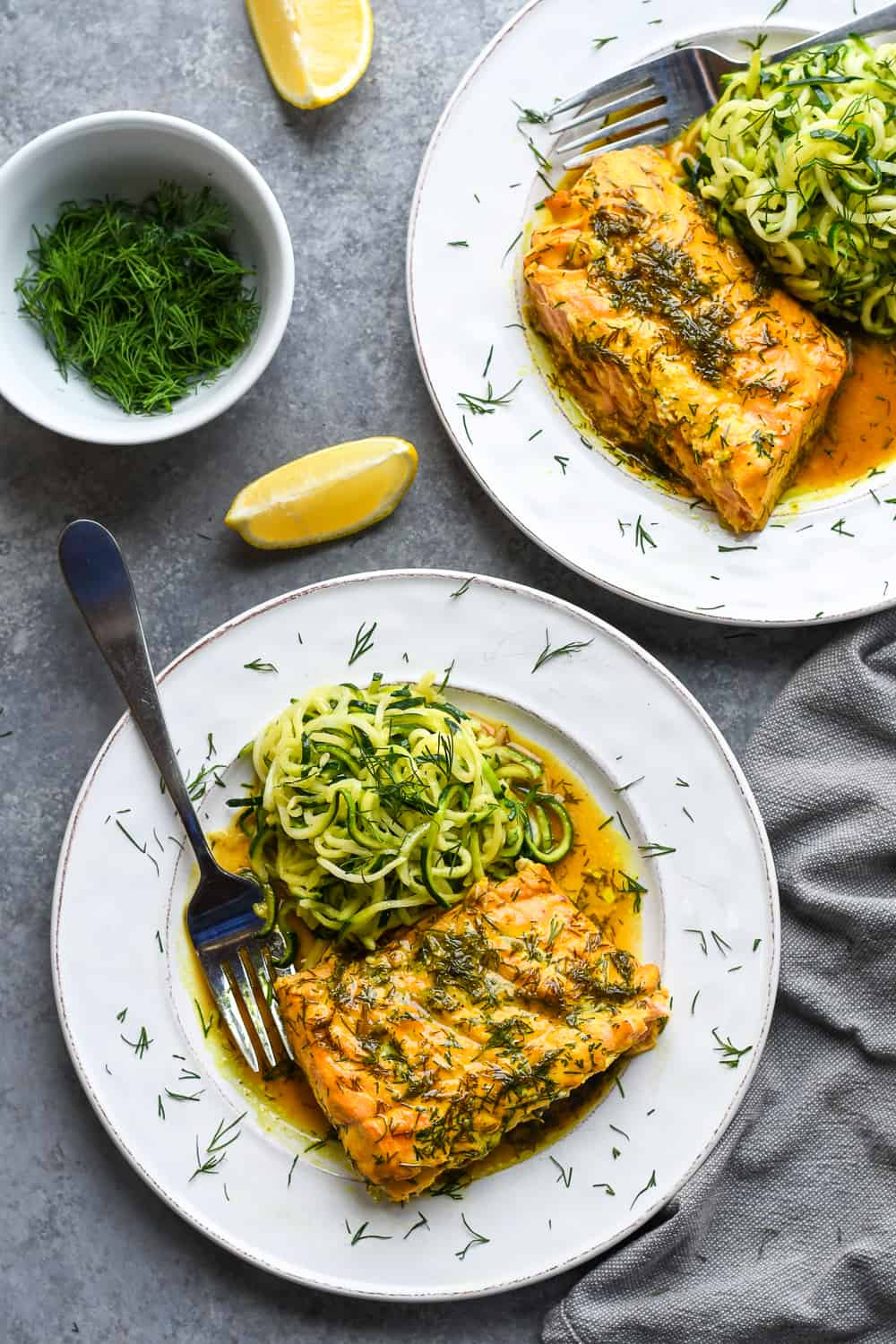 Roasted Dill Salmon over 2 plates