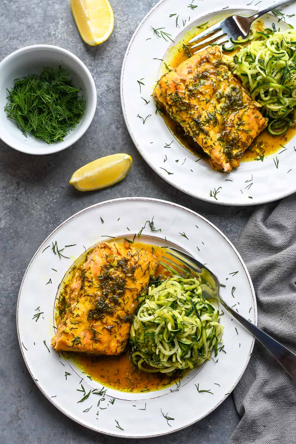 Roasted Dill Salmon over 2 with zucchini noodles