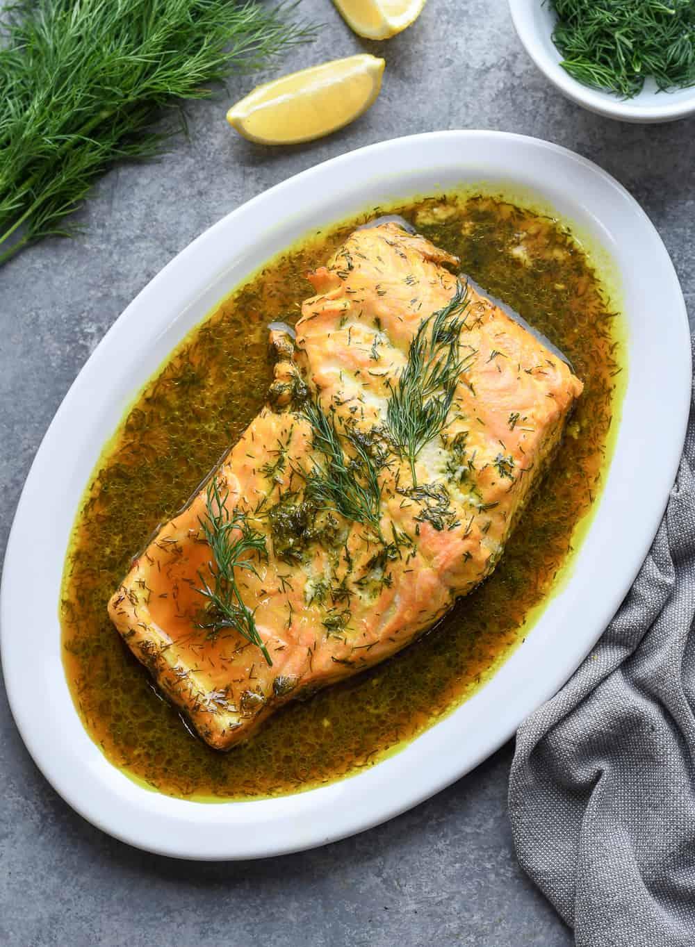 Roasted Dill Salmon on platter