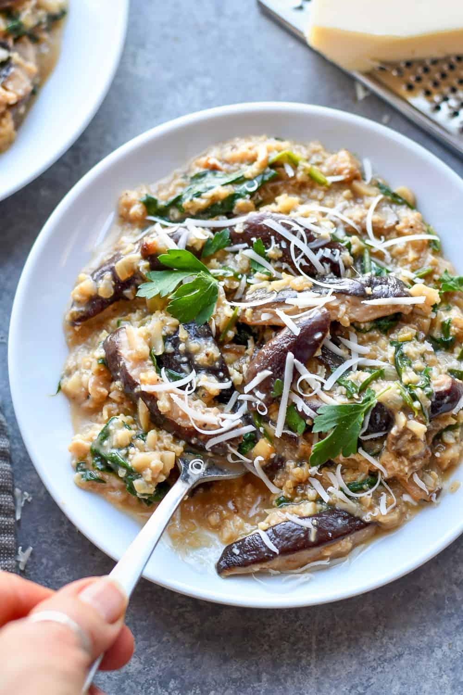 Paleo Mushroom Risotto on plate