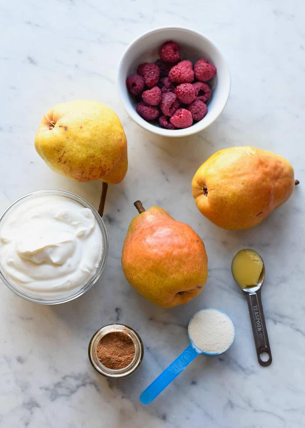 Sauteed Pears with Raspberries and Coconut Yogurt ingredients