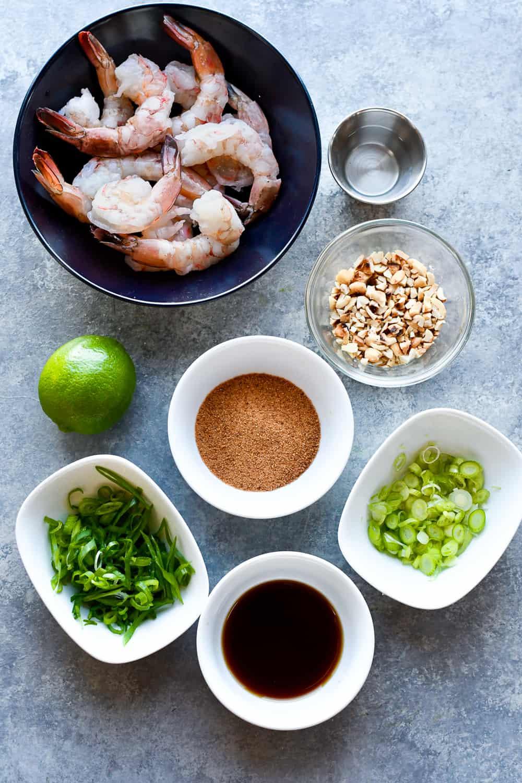 Sweet and Salty Thai Shrimp ingredients