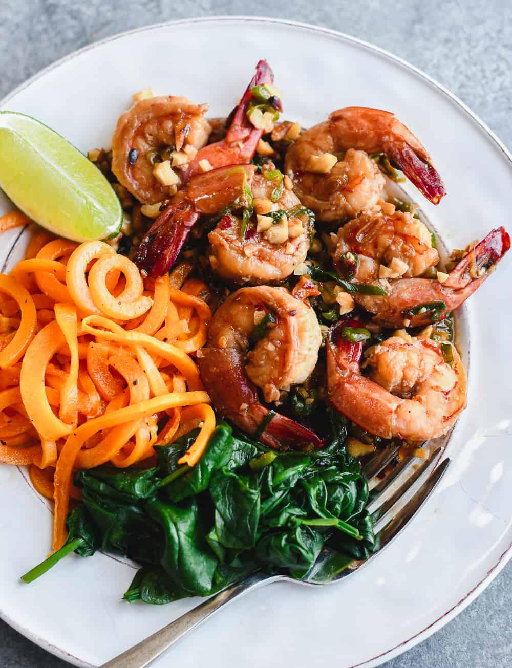 Sweet and Salty Thai Shrimp on plante