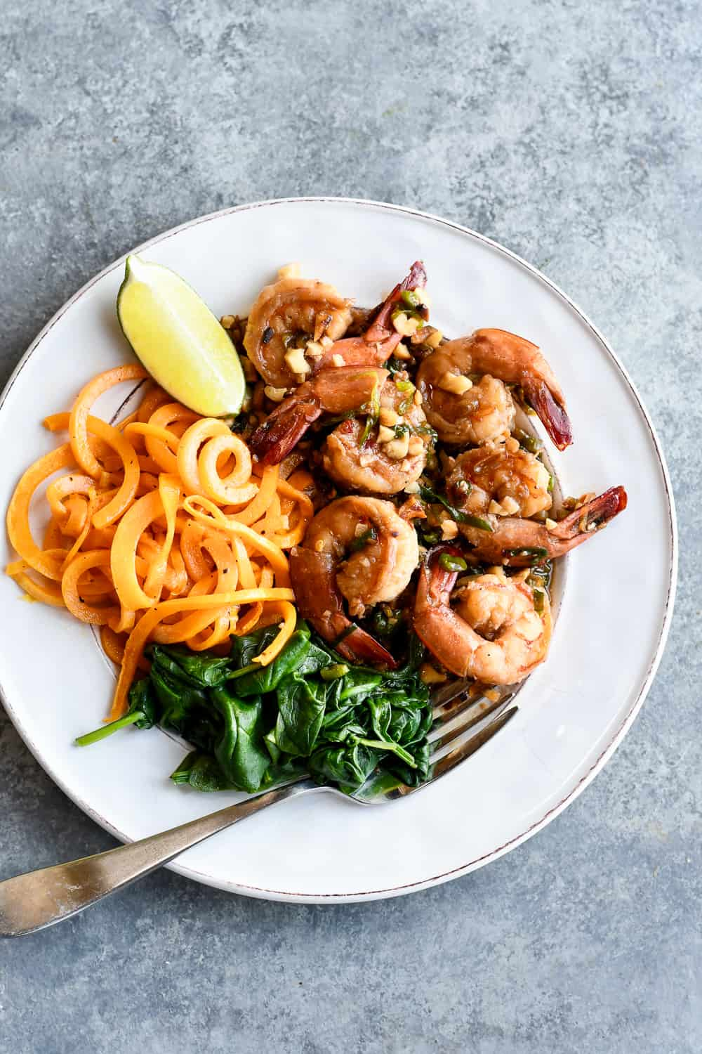 Sweet and Salty Thai Shrimp plate and table