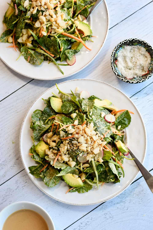 baby kale salad 2 plates