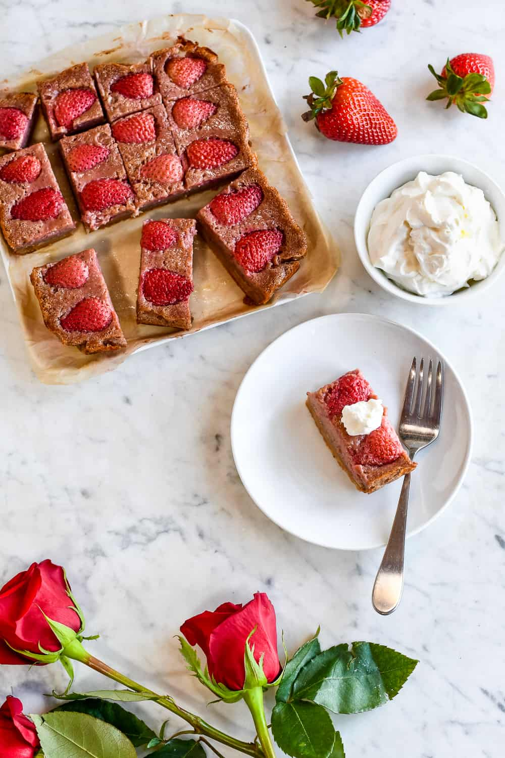 Strawberry Custard Bars over with one plate