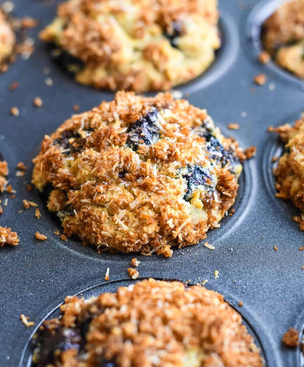 Paleo Blueberry Muffins close up in pan