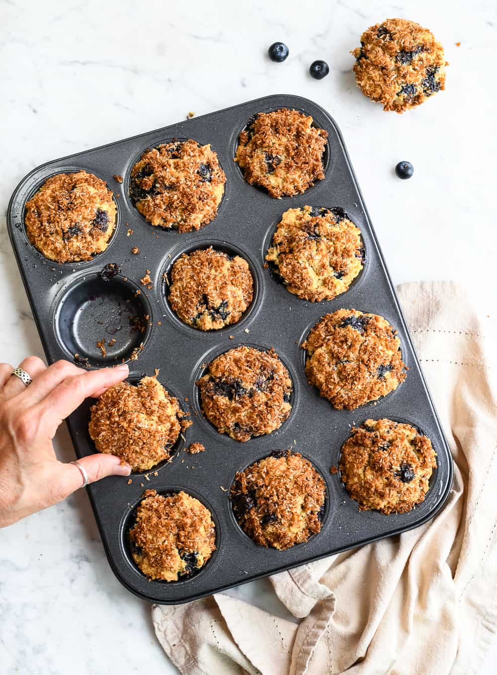 Paleo Blueberry Muffins in Pan