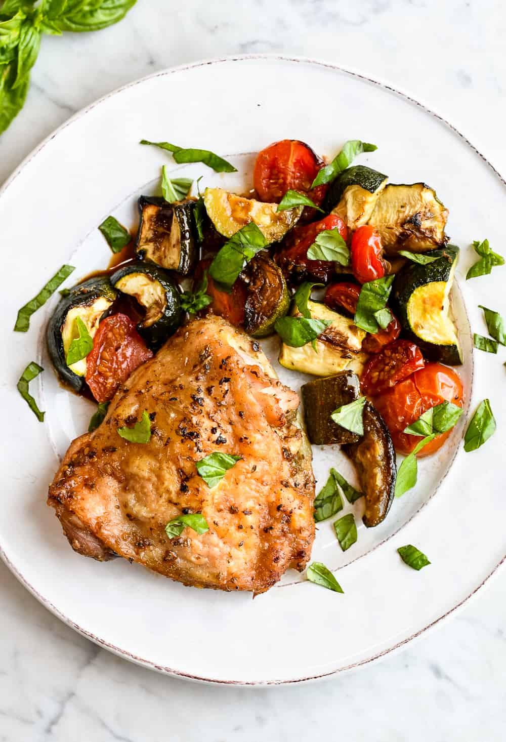 Sheet Pan Chicken with Zucchini Tomatoes & Basil plate