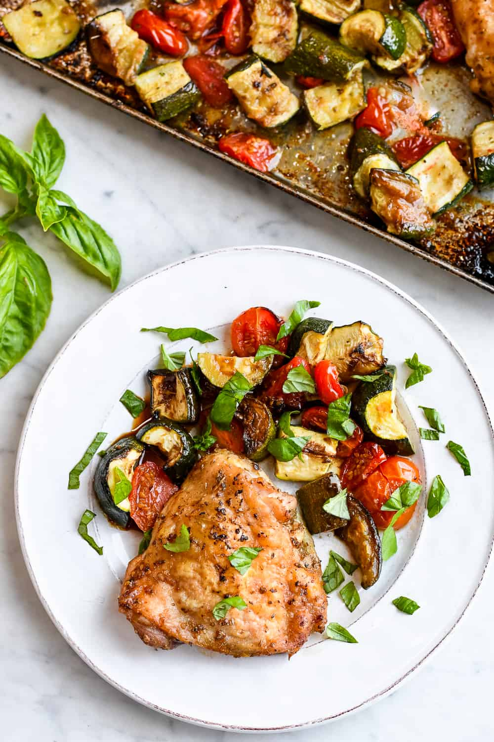 Sheet Pan Chicken with Zucchini Tomatoes & Basil plate tray