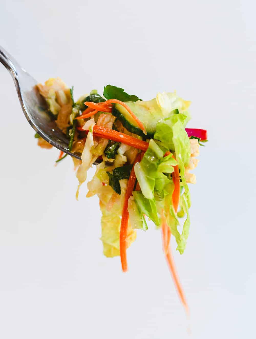 Vietnamese Chicken Salad on fork