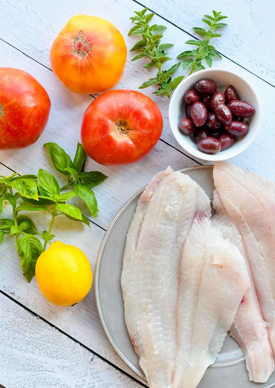Easy Mediterranean Fish with Tomatoes & Basil ingredients