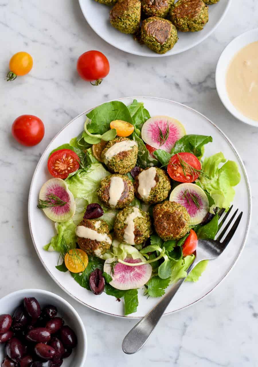 Paleo Falafel with salad olives and sauce