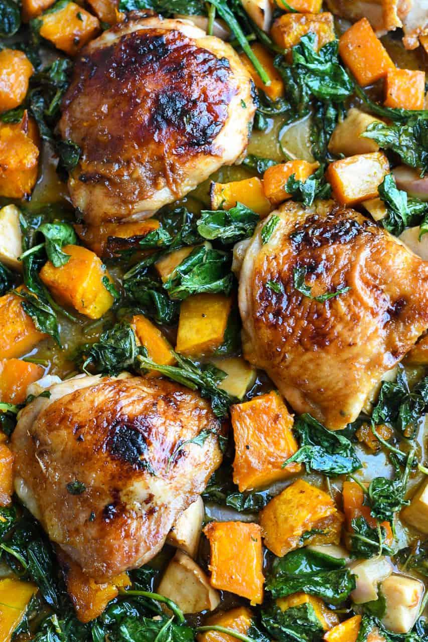 Glazed Sheet Pan Chicken close up