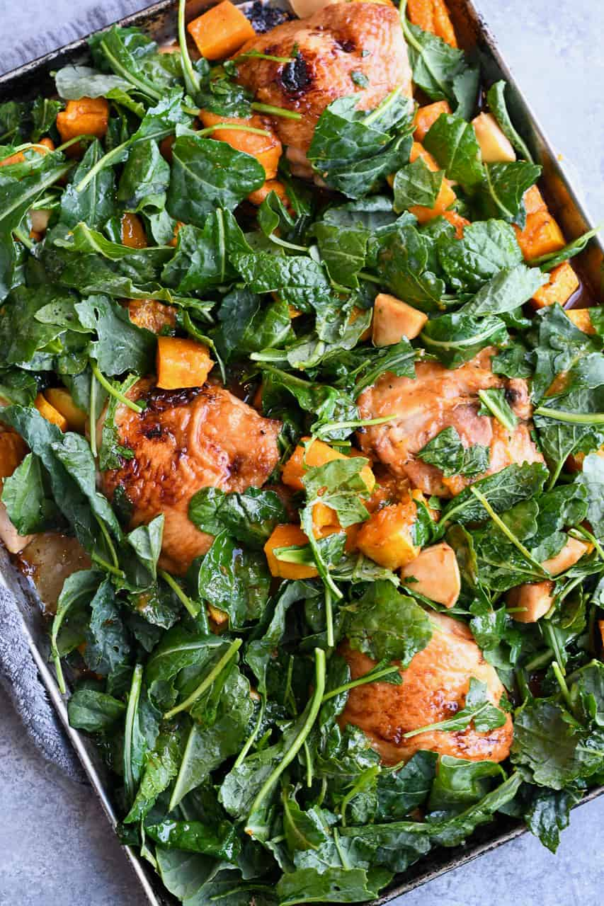 Glazed Sheet Pan Chicken with raw kale