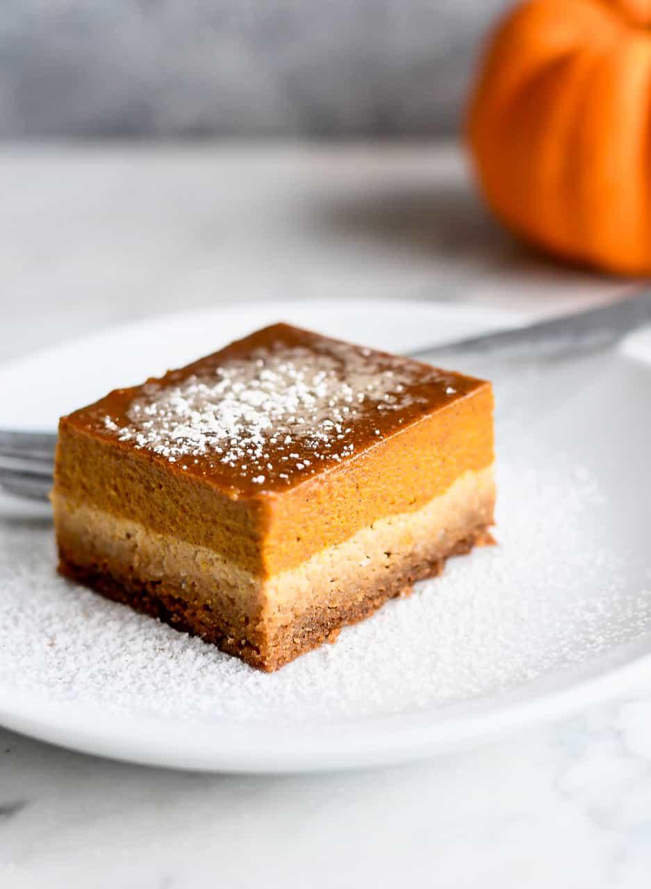 Paleo Pumpkin Pie Bars on plate
